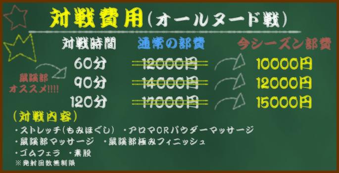 対戦費用(オールヌード戦)